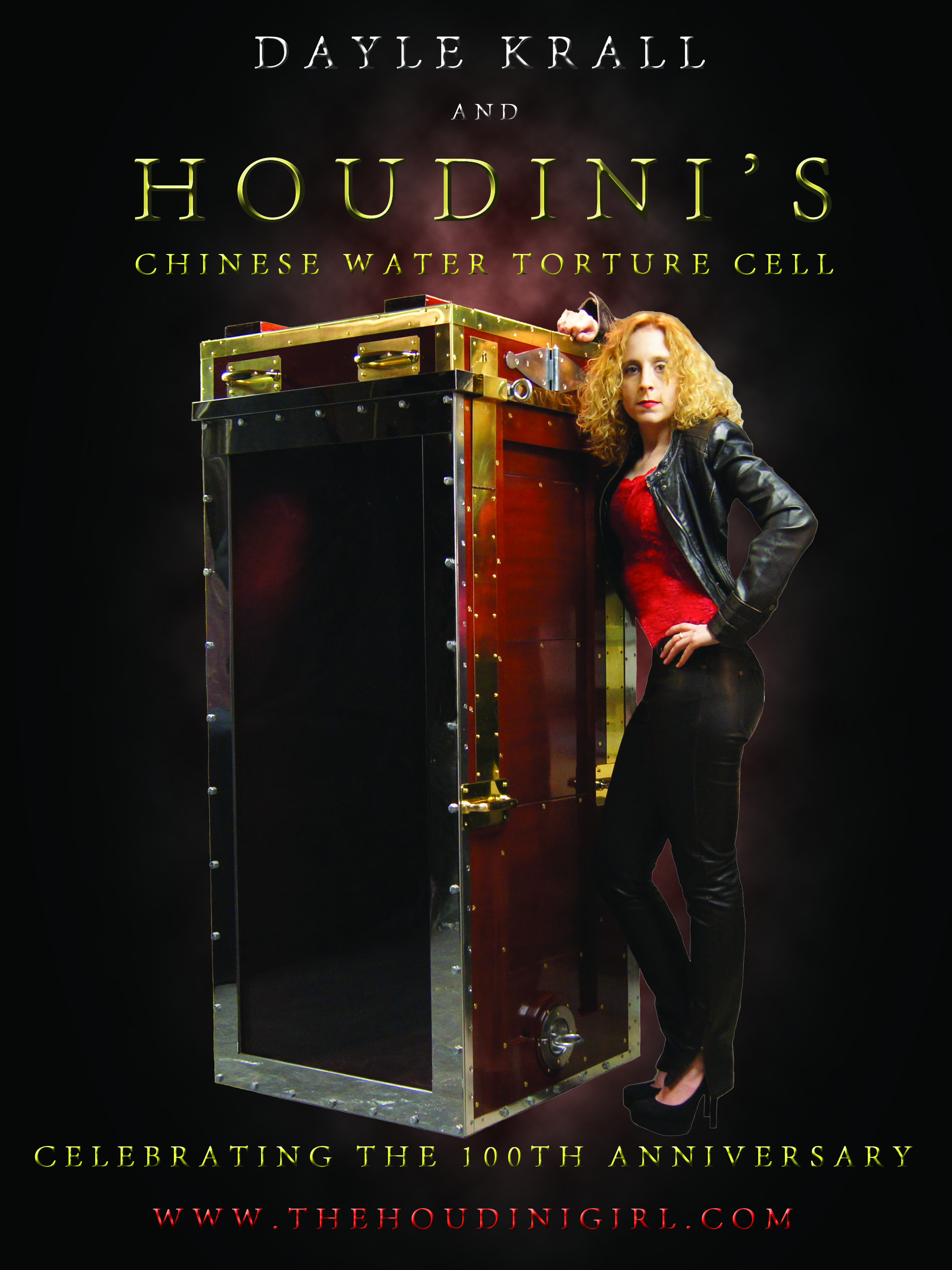 Dayle Krall with Houdini's Chinese Water Torture Cell